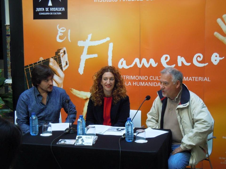 Faustino Nuñez, Mariángeles Carrasco y Sergio de Lope en la Rueda de prensa de la presentación del disco A night in Utrera